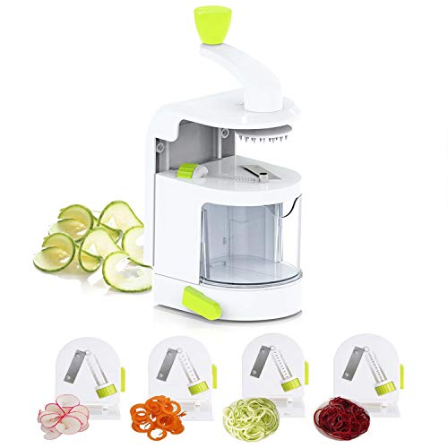 Smile mom 4-in-1 Rotating Blades Spiral Vegetable Noodle Maker Vertical Zucchini Spaghetti Maker Zoodle Spiralizer Mandoline Slicer for Low Carb Paleo Gluten-Free Meals