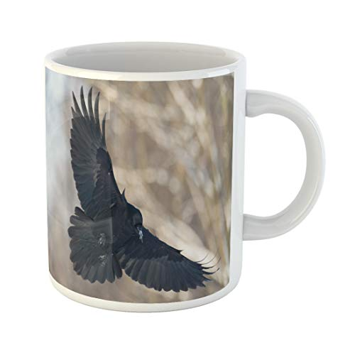Semtomn Funny Coffee Mug Birds Flying Black Common Raven Corvus Corax Scary Creepy 11 Oz Ceramic Coffee Mugs Tea Cup Best Gift Or Souvenir -