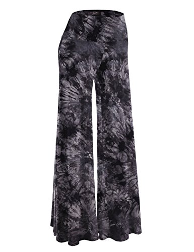 (Made By Johnny WB1060 Womens Chic Tie Dye Palazzo Pants S Black)