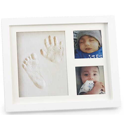 Baby Yei Handprint and Footprint Picture Frame Keepsake Set for Newborn Boys and Girls | Perfect for Baby Shower Registry | Gift-ready packaging, Premium Woodwork and Non-toxic Clay (Cool Baby Shower Gifts)