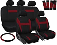 OxGord Car Seat Cover - Red Black fits Car Truck Van SUV - Full Set