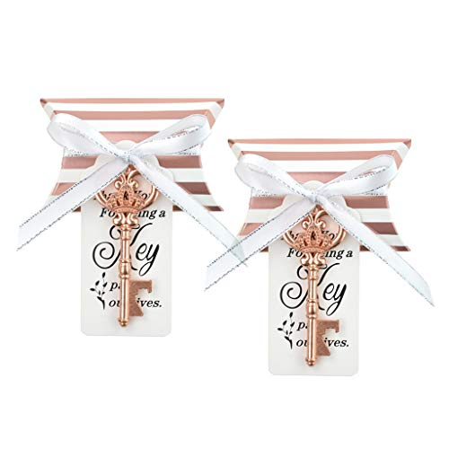 DerBlue 60 PCS Key Bottle Openers Wedding Favors Rustic Decoration with Love Escort Tag Card Pillow Candy Box and Satin Ribbon(with ROSE Gold Stripe) ()