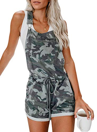 - GOSOPIN Women Shortalls Jumpsuit Pocket Bib Short Overall Small Camouflage Green