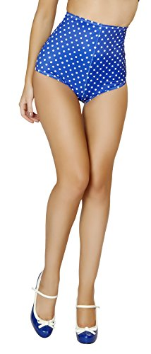 Roma Costume Women's Pinup Style High-Waisted Shorts, Blue/White, Small/Medium -