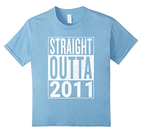Kids Straight Outta 2011 | Great 7th Birthday Gift Idea t-shirt 4 Baby Blue