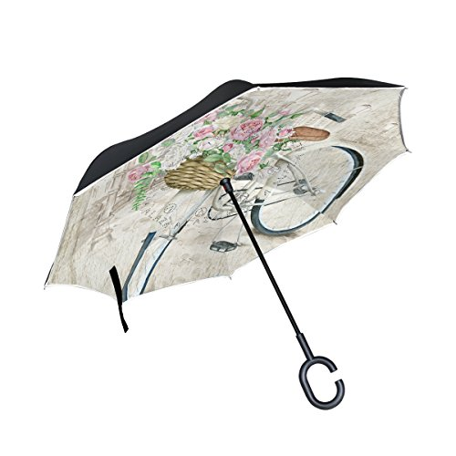 My Daily Double Layer Inverted Umbrella Cars Reverse Umbrella Watercolor Bicycle Flower Windproof UV Proof Travel Outdoor Umbrella by ALAZA