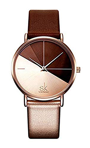 Fashion Marble Dial Watch Women Simply Quartz Watches Leather Band Casual Ladies Wristwatch (Champagne Gold)
