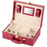 Cozzine Quilted Leather Jewelry Organizer Case and Storage for Women Girl with Travel Handle (Red)