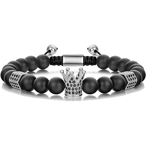 - SEVENSTONE 8mm Crown King Charm Bracelet for Men Women Black Matte Onyx Stone Beads, 7.5