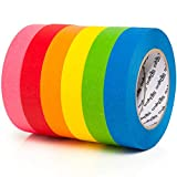 Colored Masking Tape - 6 Pack of 1 inch x 60yd Extra Large Rolls - 360 yards of Rainbow Color Craft Paper Tape - Colorful Teacher Tape for Art, Lab, Labeling, Classroom Decorations & Teaching Supplies