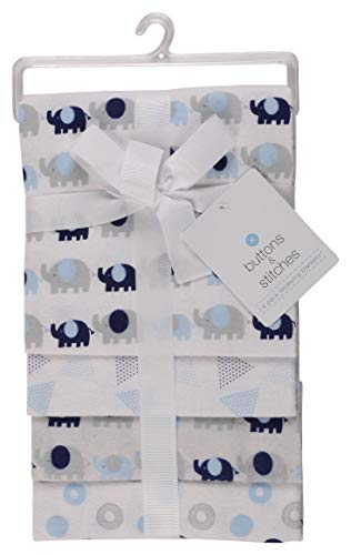 Buttons and Stitches Little Beginnings Four Piece Laddered Receiving Blankets, Blue Elephants ()