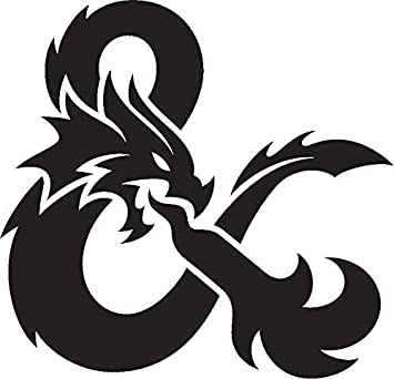 """Amazon.com: Dungeons and Dragons Logo Stickers Symbol 5.5"""" Decorative DIE  Cut Decal for Cars Tablets LAPTOPS Skateboard - White Color: Computers &  Accessories"""