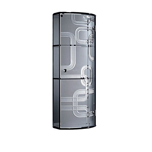 Fab Glass and Mirror Fgm-L-B130A2 Wall Mounted Bathroom Cabinet for Cosmetic Storage, Grey