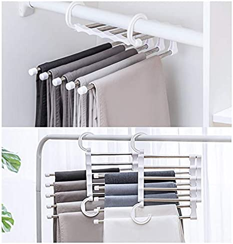 eamqrkt 2 PCS Pants Rack Shelves 5 in 1 Multifunctional Storage Trousers Hangers Space Saving