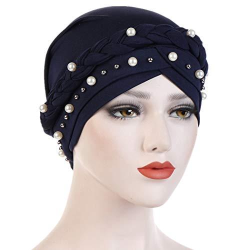 Fxhixiy Women Hijab Beading Pearl Braid Turban Hat Head Scarf Cancer Chemo Beanies Bandana Headwrap Cap (Navy Blue) ()