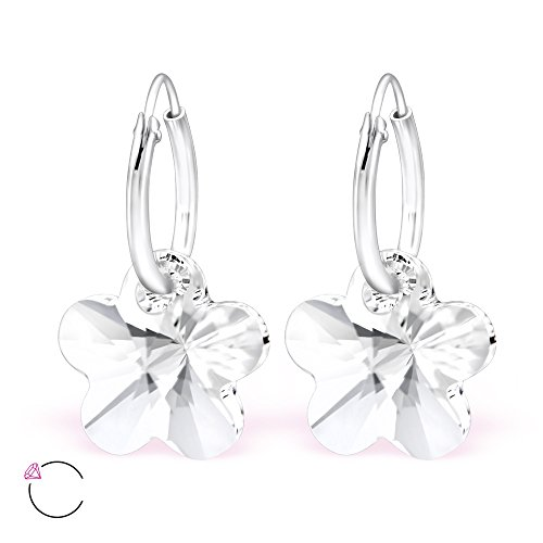 925 Sterling Silver Crystal Swarovski Flower on Endless Hoop Earrings 29469