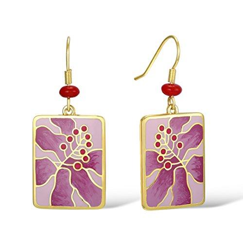 Pattern Bamboo Earrings (Santuzza Gold Plated Brass Pink Flower Pattern Handmade Enamel Earrings)
