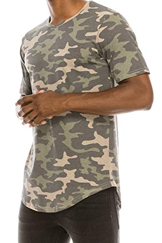JC DISTRO Mens Hipster Hip Hop Elong Longline Crewneck T-Shirt Camouflage XLarge
