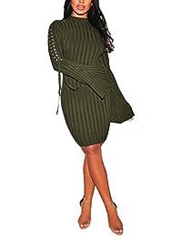 Women's Turtleneck Knit Long Sleeve Bandage Hollow Elasticity Stretchable Sweater Dresses