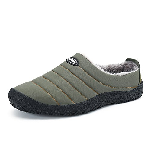 SITAILE Indoor Outdoor Slippers For Women Men Fur Home Slippers Waterproof Winter Slip Ons House Shoes Green dVQLT