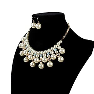 Jewelry Set for Women Faux Pearl Tassel Glass Bead Necklace And Drop Earrings Set Earrings Necklace Set (Color : White, Size : Free size)