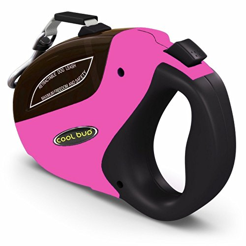 Security Pro Retractable Dog Leash Pink 16ft Top Heavy Duty Leash For Large Dogs Up To 110lbs by (Pink Ribbon Dog Leash)