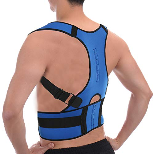 CFR Magnetic Posture Corrector Back Braces Shoulder Waist Lumbar Support Belt Humpback Prevent Body Straighten Slouch Compression Pain Relief - Blue,M UPS Post