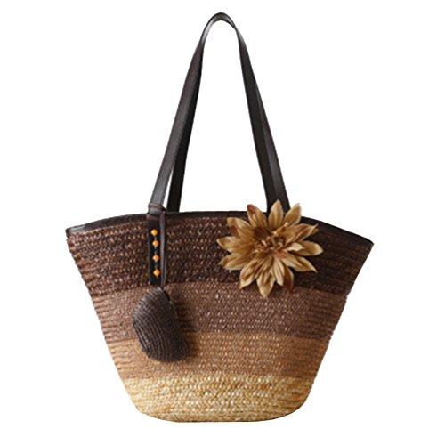 Womens Straw Flower YOUJIA Brown Handbag Totes Bags Shopper Beach Bags 1 Shoulder Boho dqZwwOn