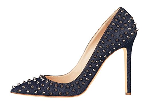 Jiu du Women's High Heel for Wedding Party Pumps Fashion Rivet Studded Stiletto Pointed Toe Dress Shoes Blue Denim Size US11 EU43 Denim High Heel Pumps
