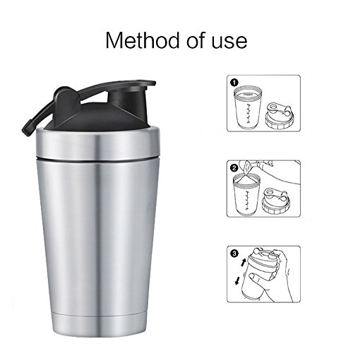 (New-Hi Stainless Steel Sport Water Bottle Leak proof Protein Mixing More Healthy Milkshake Shaker Cup + Shaking Ball (500ml) )