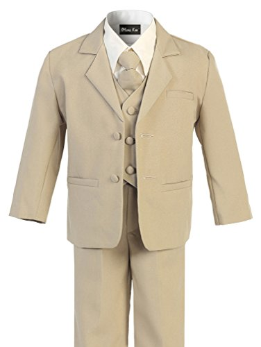 OLIVIA KOO Boy's Black Classic 2 Button Suit With Cloth Cover Buttons, Khaki, -