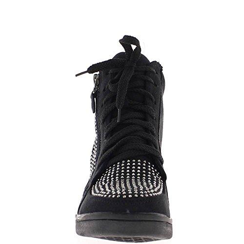 Nero aumentante sneakers con zeppa con strass a tacco 6cm