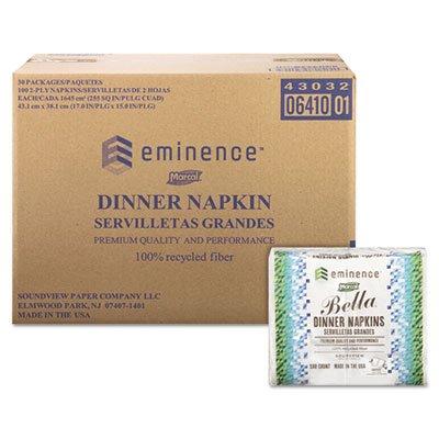 100% Premium Recycled Bella Dinner Napkins, 15 x 17, White, 3000/Carton, Sold as 1 Carton