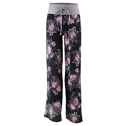 - Buttery Soft Pajama Pants for Women - Floral Print Drawstring Casual Palazzo Lounge Pants Wide Leg for All Seasons (XX-Large, Purple Flower)