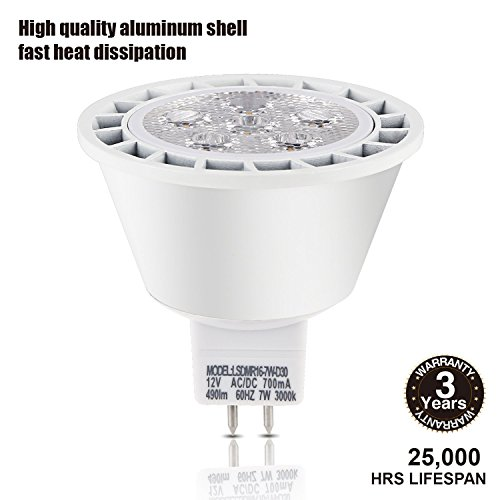 TORCHSTAR Dimmable MR16 GU5.3 LED Light Bulb, 7W (50W Equivalent), Energy Star, 490lm, 3000K Warm White, 40° Beam Angle, Damp Location Available, 12V, 3 Years Warranty, Pack of 12 by TORCHSTAR (Image #2)