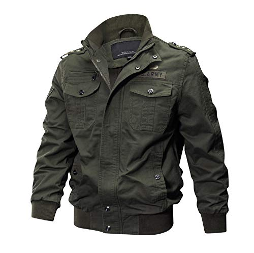 (CRYSULLY Men's Fall Jackets Multi Pocket Tactical Safari Jacket Casual Cargo Jacket Army Green/US M/Tag)