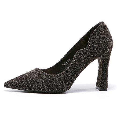 39 Fermé Pointu Talon Escarpin Chaussure Pompes Femme Mode Élégante Inconnu Bloc Haut Confortables Noir qOAY0n