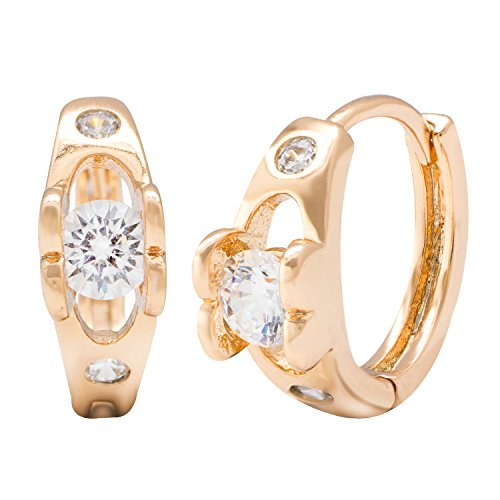 Romantic Time Classic Wedding Ring Style Gemstone French-back Hoop Earrings ()