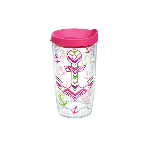 Anchor 16 Ounce Tumbler - Tervis 1170684 Anchors Away Tumbler with Wrap and Fuchsia Lid 16oz, Clear