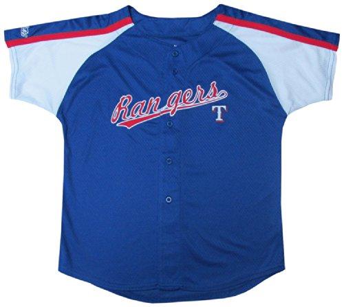 MLB Texas Rangers Boys Colorblocked Button Down Jersey, Royal, 4