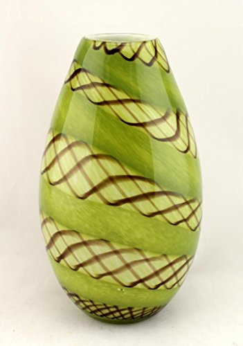 Hand Blown Glass Murano Art Style Teardrop Vase Green