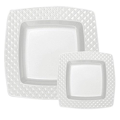 TTG 200-Piece Plastic Dinnerware Set | Square Diamonds Collection | (100) Dinner Plates u0026 (100) Salad Plates | Heavy Duty Premium Plastic Plates for Wedding ...  sc 1 st  Amazon.com & Square Dinner and Salad Plates: Amazon.com