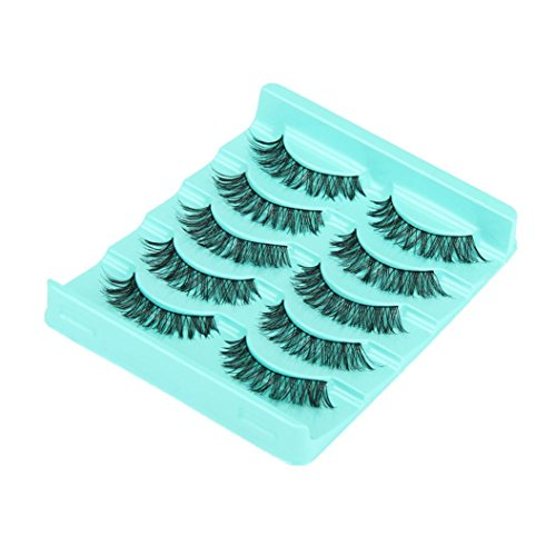 Coper New Fashion 5 Pairs Handmade Long False Black Makeup Eyelashes ()