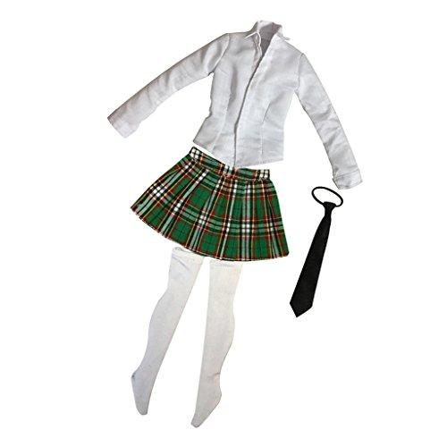 [해외]12 ` ` 뜨거운 장난감 Phicen 쿠 미 k 여성을 위한 MagiDeal 녹색 16 규모 셔츠 격자 무늬 치마 세트 / MagiDeal Green 16 Scale Shirt Plaid Skirt Set for 12`` Hot Toys Phicen Kumik Female