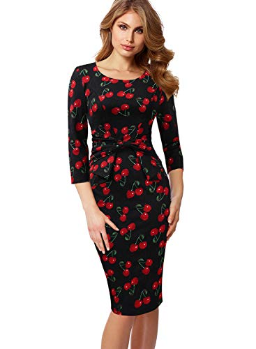 VFSHOW Womens 3/4 Sleeves Pleated Bow Wear to Work Church Sheath Dress 1509 RED XS ()