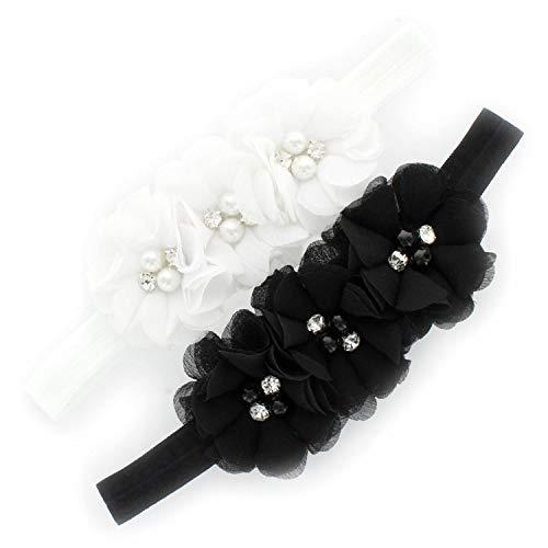 My Lello Baby Flower Headbands Fabric Beaded Trio Stretchy Elastic Pair (White/Black) ()