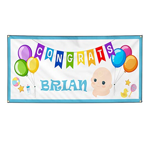 Custom Vinyl Banner Sign Multiple Sizes Congrats Boy Name White Blue Lifestyle Personalized Marketing Advertising White 6 Grommets 36inx72in Set of 3 (Congrats Message For New Born Baby Boy)