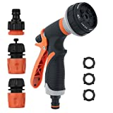 TINANA Garden Hose Nozzle Sprayer Nozzle Heavy Duty High Pressure Water Nozzle 8 Way Sprayer Pattern for All Your Watering and Pets Shower & Car Wash Use