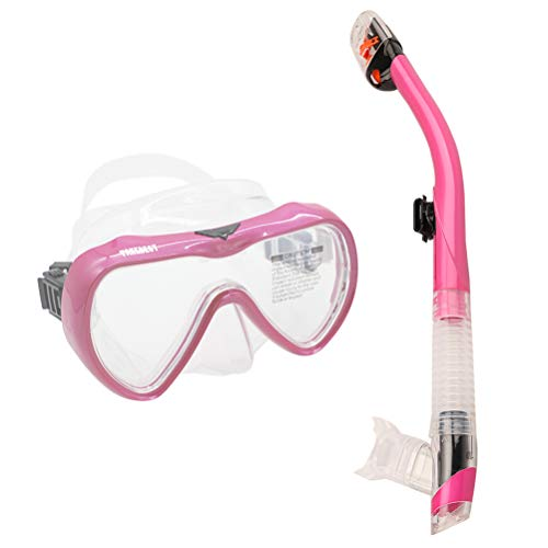 - TAKEBEST Snorkel Set, Anti-Fog Snorkel Diving Mask Panoramic Wide View Tempered Glass, Easy Breathing Anti-Leak Dry Top Snorkel, Professional Snorkeling Set for Adult Youth (Pink+Transparent)
