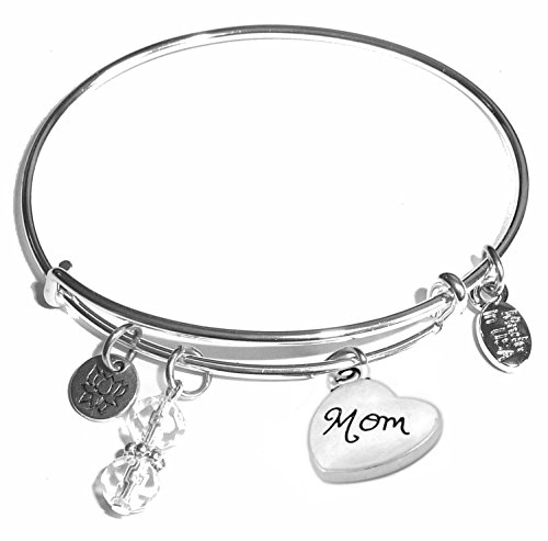 Message Charm (46 words to choose from) Expandable Wire Bangle Bracelet, in the popular style, COMES IN A GIFT BOX! (Mom)]()